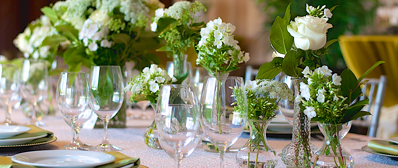 Photos, Glassware and Flowers